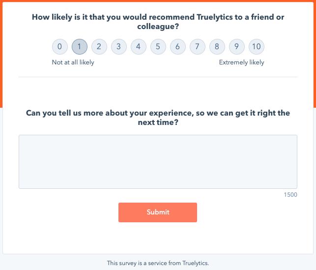 Truelytics NPS Survey